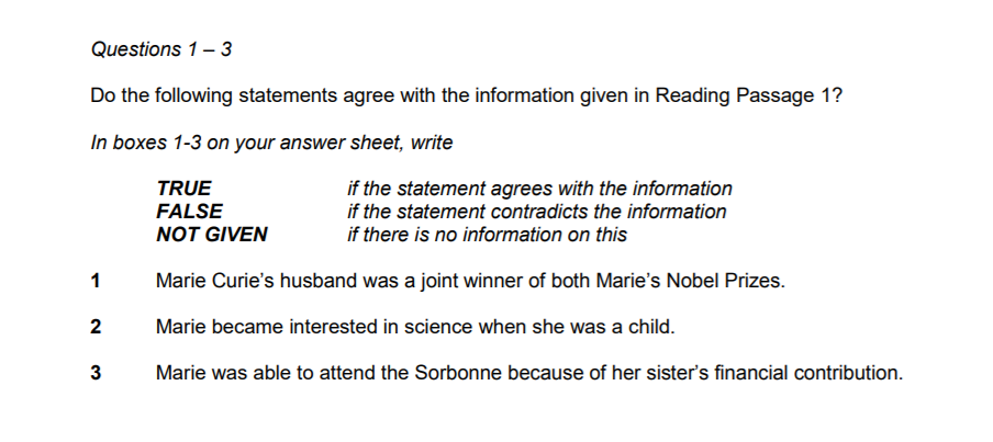 ielts-reading-true-false-not-given-marie-curie